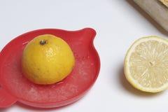 2 половины лимона для сока Ручной juicer Стоковая Фотография