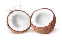 2 половины кокоса лежа затем Стоковое Фото