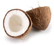 2 половины кокоса изолированной на белой предпосылке Стоковое фото RF