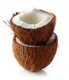 Половины кокоса изолированные на белизне Стоковая Фотография RF
