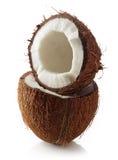 Половины кокоса изолированные на белизне Стоковые Фотографии RF