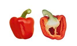 2 половины красного сладостного перца Стоковые Изображения