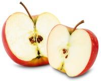 Половины красных яблок на белой предпосылке Стоковая Фотография RF