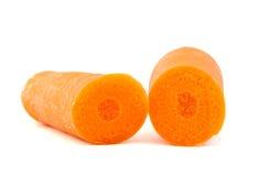 2 половины моркови на белой предпосылке Стоковые Фото