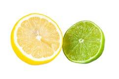 Половины плодоовощей лимона и известки Стоковые Изображения