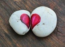 2 половины сердца нарисованного на утесах Стоковые Изображения RF