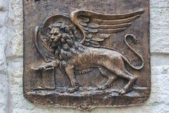 подогнали скульптура льва, котор Стоковое Фото