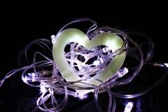 Полое сердце в гнезде Fairy светов Стоковое Изображение RF