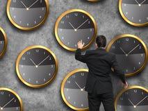Положение бизнесмена - принципиальная схема стратегии времени Стоковое фото RF