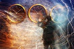 Положение бизнесмена - принципиальная схема стратегии времени Стоковые Фотографии RF