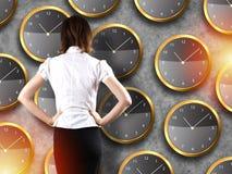 Положение бизнесмена - принципиальная схема стратегии времени Стоковая Фотография RF