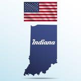 Положение Индианы с тенью с флагом США развевая бесплатная иллюстрация