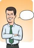 положение речи бизнесмена воздушного шара ся Стоковое фото RF