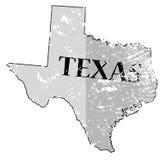 Положение Техаса и карта Grunged даты Стоковое Изображение RF