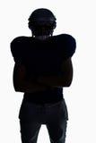 Положение футболиста силуэта американское Стоковые Фотографии RF