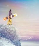 Положение Snowboarder Стоковая Фотография