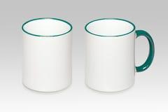 2 положения белой кружки Стоковое Фото