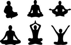 Положения йоги Silhouettes значок также вектор иллюстрации притяжки corel Стоковые Фото