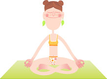 положения раздумья лотоса иллюстрации характера йога женщины вектора смешного практикуя парящая Стоковое фото RF