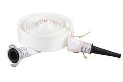 Положени-плоский белый шланг разрядки мельницы стоковые изображения rf