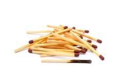 Положенные используемые matchsticks Стоковое фото RF