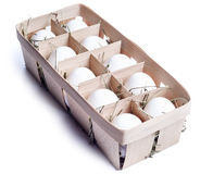 Положенные яичка в корзине Стоковые Изображения RF