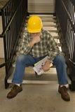 Положенный с рабочий-строителя Стоковые Фото