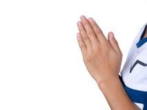 Положите ладони рук совместно в салют Стоковые Фото