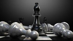 Положите епископ на доску, и шахматная фигура падает вниз иллюстрация вектора