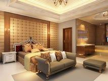 Положите комнату в постель иллюстрация штока