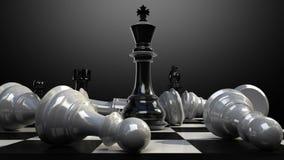 Положите короля на доску, и шахматная фигура падает вниз анимация иллюстрация штока
