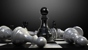 Положите пешку на доску, и шахматная фигура падает вниз иллюстрация штока