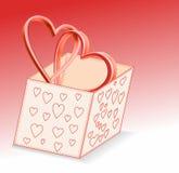 положите сердца в коробку Стоковое фото RF