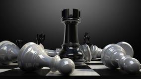 Положите утес на доску, и шахматная фигура падает вниз бесплатная иллюстрация