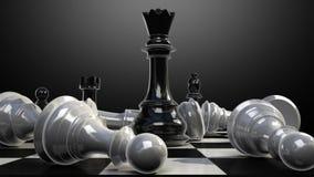 Положите ферзь на доску, и шахматная фигура падает вниз бесплатная иллюстрация