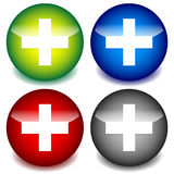 Положительная величина, перекрестные значки для здравоохранения, доврачебные концепции Стоковое Изображение RF
