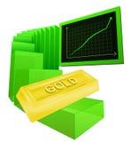 Положительная диаграмма дела золотого вектора товаров Стоковое фото RF