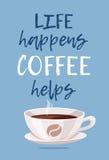 Положительная кофейная чашка стиля цитаты и шаржа Питье кофеина иллюстрации вектора нарисованное рукой Стоковое Фото