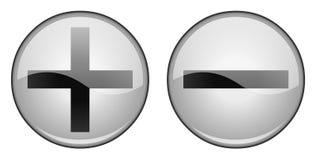 Положительные и отрицательные кнопки Стоковые Фотографии RF