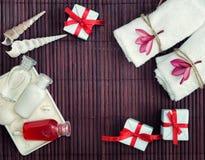 Полотенца, бутылки шампуня, seashells и настоящие моменты на бамбуке Стоковое Изображение