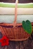 Полотенца в плетеной корзине рядом с цветками и листьями завода Стоковые Фото