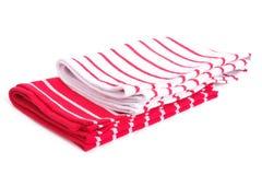 2 изолированные полотенца кухни и красных нашивки Стоковые Изображения RF