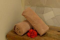 Полотенца руки в курорте здоровья Стоковое фото RF