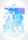 Под открытым небом плакат партии с силуэтом текста на небе Стоковые Фото