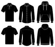 Поло, рубашка и hoody шаблона плана иллюстрация вектора