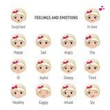Подписанные чувства и эмоции Девушка с различными выражениями на ее стороне вектор иллюстраций шаржа установленный мышами Стоковая Фотография RF