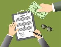 Подписывая контракт при стекла и рука давая банкноты Стоковое Фото