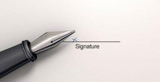 Подпись x и авторучка Стоковые Фото