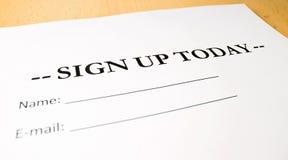 Подпишите вверх сегодня стоковое фото
