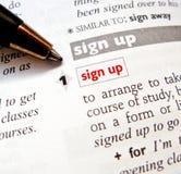 подпишите вверх Стоковое Изображение